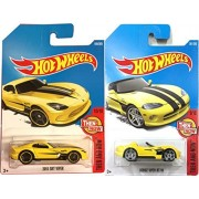 Hot Wheels Dodge Viper 2013 SRT Viper #199 Yellow 2017 & Then And Now 281 Yellow Convertible in PROTECTIVE CASES