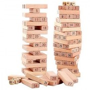 Jenga (Tumbling Tower) 54 pieces Numbered Wooden Blocks with 4 Dices Stacking Game (Beige)