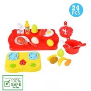 Sakiyr 24-Piece Plastic Cutting Fruits and Vegetables Cooking Kit Kitchen Play Food Set