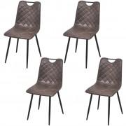 vidaXL Трапезни столове, 4 броя, изкуствена кожа, тъмно кафяви