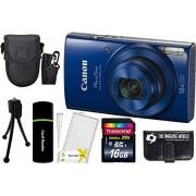 Canon PowerShot ELPH 190 IS 20.2MP 10x Zoom Wi-Fi Digital Camera (Blue) + 16GB Card + Reader + Case + Accessory Bundle