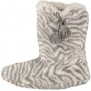 Apollo Grijze hoge dames pantoffels/sloffen met zebraprint 40-42 - Sloffen - volwassenen