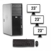 HP Z400 Workstation - Xeon W3520 - NVS 290 - 8GB - 500GB HDD + Dual 3x 23 inch Widescreen LCD