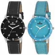 Gionee Set of 2 Analog Blue & Black Dial Watch For Girl's & Women's