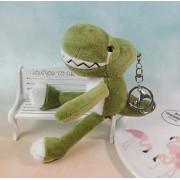 N-L Lindo Llavero de Dinosaurio con Dientes de Dibujos Animados de Peluche de Juguete Mochila Escolar Colgante 21cm Verde oscuro-21cm_Dark_Green Regalo de Vacaciones