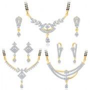 Sukkhi Pleasing Gold Plated CZ Set of 3 Mangalsutra Set Combo For Women