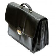 Trzykomorowa teczka ze skóry naturalnej, czarna, na laptopa + mini biuro