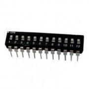 Life Dip Switch 12 Poli Per Circuiti Stampati Passo 2,54 Mm Tcs Black