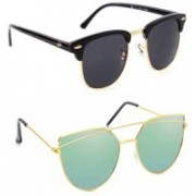 Elgator Over-sized Sunglasses(Black, Green)