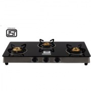 Brightflame ISI Marked 3 Burner Black Glass Stove Auto - Tulip Series