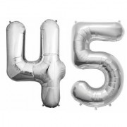 De-Ultimate Solid Silver Color 2 Digit Number (45) 3d Foil Balloon for Birthday Celebration Anniversary Parties