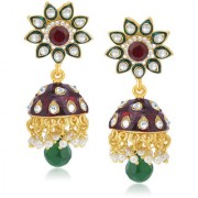 Sukkhi Stunning Gold Plated AD Jhumki For Women