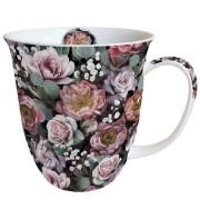 AMB.18413900 Vintage Flowers Black porcelánbögre 0,4l