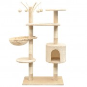 vidaXL Škrabadlo pre mačky so sisalovými stĺpikmi, 125 cm, béžové
