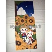 Tenugui avec un motif de paysage de vacances d'été