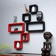 Onlineshoppee Cube Floating Wall Shelf Set of 6 (Red)