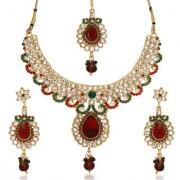 Kriaa by JewelMaze Zinc Alloy Gold Plated Maroon And Green Austrian Stone kundan Necklace Set With Maang tikka-AAA0704