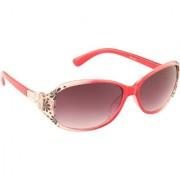 ADINE Women's Red UV Protection Oval Full Rim Sunglasses