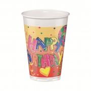 Pahar din plastic, color, 200ml, 12 buc/set, HERLITZ Happy Birthday