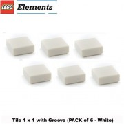 Lego Parts: Tile 1 x 1 with Groove (PACK of 6 - White)