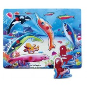 Puzzled Sea Life Educational Peg Wooden Puzzle - Ocean / Sea Life Theme - Affordable Gift For Your Little One - Item #4372