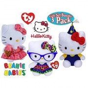 TY Beanie Babies Hello Kitty Gift Set Bundle Featuring Fashionista Celebration & Ice Cream - 3 Pack