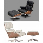MondoArreda Sillón Y Puf Semejantes A Eames Lounge Chair Stile De Piel Auténtica