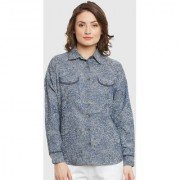 Bohobi Women's Blue Floral Shirt Collar Regular Shirts Tops