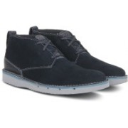 Clarks Capler Mid Navy Suede Casuals For Men(Navy)