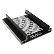 Adaptor Akasa de la 3.5 inch la 2x 2.5 inch HDD/SSD, aluminiu, pad termic, culoare neagra