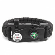 Pulsera de Paracord Survival de emergencia al aire libre con SOS LED Light-negro