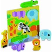 Joc de potrivire - puzzle lemn copii - Animale din Savana