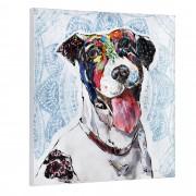 [art.work] Ručně malovaný obraz - pes - plátno napnuté na rámu - 80x80x3,8 cm