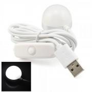Bec LED 2W Alb Rece cu Magnet, Intrerupator si Alimentare USB 35mm