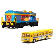 Pull Along Locomotive Engine with Yellow Bus for Kids
