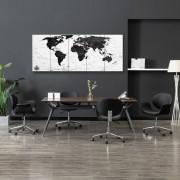 vidaXL Комплект принт върху канава, карта на света, бял, 200x80 см
