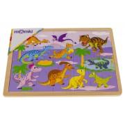 Puzzle lemn - Dinozauri, 20 piese