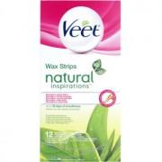 Veet Natural Inspirations benzi depilatoare cu ceara rece pentru piele normala si uscata 12 buc