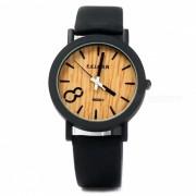 unico Vogue estilo de madera de los hombres reloj de cuarzo de deportes - Negro