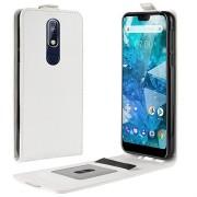 Nokia 7.1 Verticale Flip Cover met Creditcard-slot - Wit