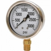 Valley Instrument 2 1/2Inch Stainless Steel Glycerin Gauge - 0-3,000 PSI