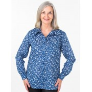 Seniors Choice Navy Dot Daisy Blouse - Navy 14