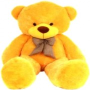 Multi Soft Fabric India Kid's 4 Feet Jumbo Teddy Bear Stuffed Soft Push Toy Good Quality Fabrics (Yellow)