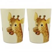 Merkloos 2x Melamine bekers giraffe wit/bruin 9 cm voor kinderen