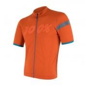 Férfi kerékpáros mez Sensor Cyclo Classic kr. ujj celozip narancssárga