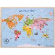 Puzzle din lemn Harta lumii 35 piese