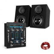 Resident DJ DJ-25 Mesa de mezclas DJ + auna ST-2000 Juego de altavoces Negro/azul (PL_DJ25BT_BL)