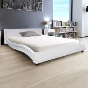 vidaXL Cadru de pat din piele artificială 140 x 200 cm, alb
