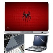 FineArts Laptop Skin Spider Red Texture With Screen Guard and Key Protector - Size 15.6 inch
