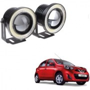 Auto Addict 3.5 High Power Led Projector Fog Light Cob with White Angel Eye Ring 15W Set of 2 For Nissan Active